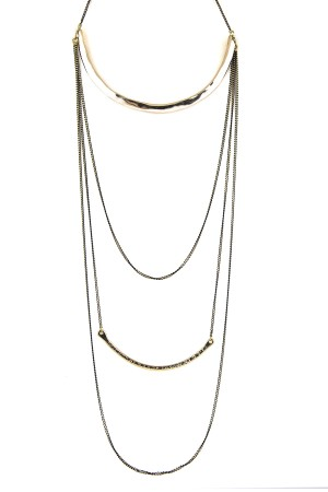 BAZAAR - LONG LAYERED - Two Tone Layered Necklace