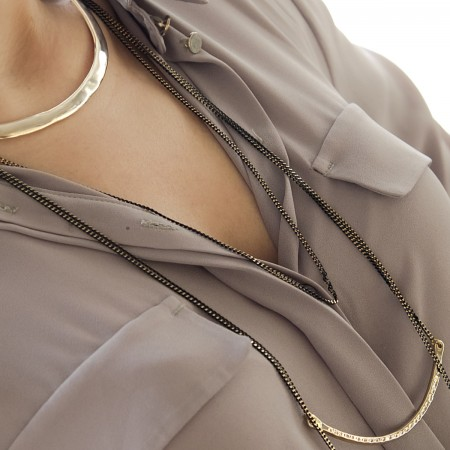 SHOW TIME - LONG LAYERED - Two Tone Layered Necklace (1)