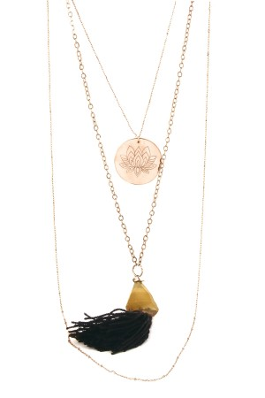 COMFORT ZONE - LOTUS TASSEL - Multilayered Necklace