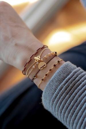 LOVEFUL - BURGUNDY - Dainty Heart Bracelet - Thumbnail