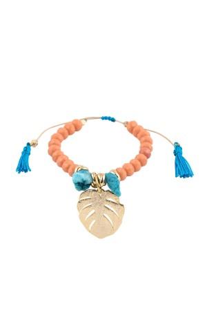 BAZAAR - MONSTERA - Tassel Embellished Beaded Bracelet