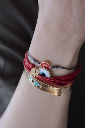 SHOW TIME - MURANO - Red Leather Bracelet (1)