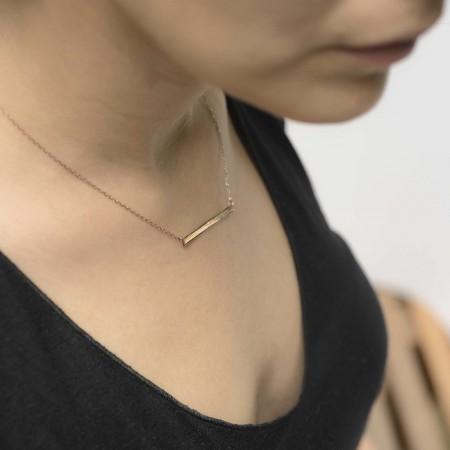 PETITE JEWELRY - NAMEPLATE - Horizontal Thin Bar Necklace