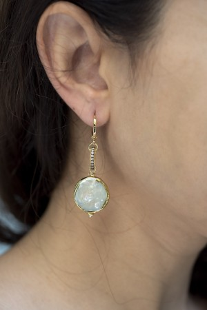 SHOW TIME - OPERA - Coin Pearl Earrings (1)