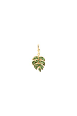 PETIT CHARM - PALM - Yeşil Taşlı Yaprak Charm