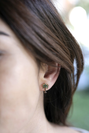 PLAYGROUND - PHOENIX - CZ Palm Tree Studs (1)