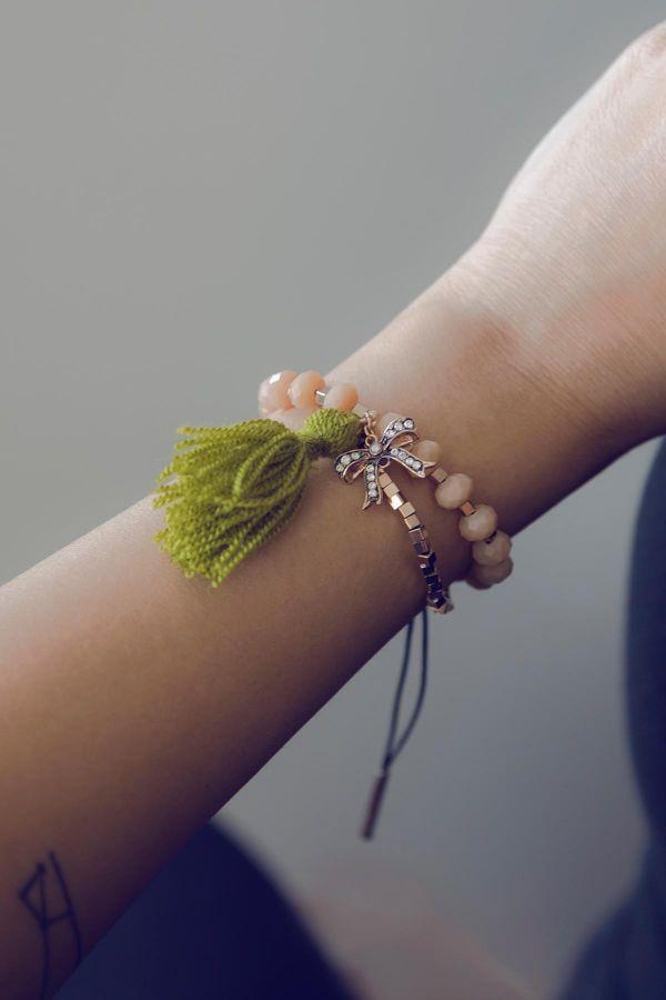PINKY BOW - Crystal Beaded Bracelet