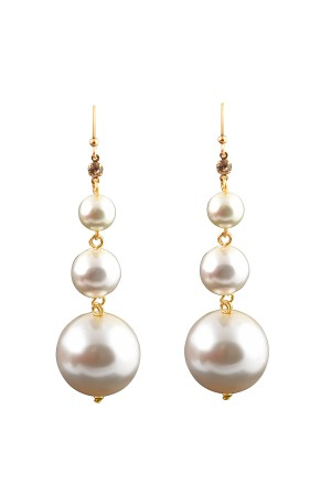SHOW TIME - PONPON - Linear Pearl Earrings