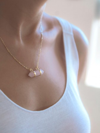 COMFORT ZONE - QUARTZ IN PINK - Dainty Necklace (1)