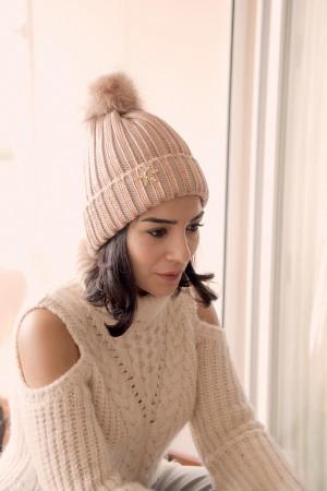 HAPPY SEASONS - ROSE SNOW - Metallic Wool Beanie (1)