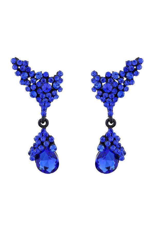 SAX BLUE - Kristal Taşlı Küpe