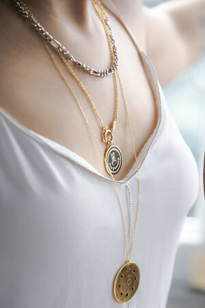 PLAYGROUND - SELF LOVE - Black Enamel Medallion Necklace (1)