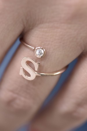 PETITE JEWELRY - SPARKLE - CZ Initial Ring