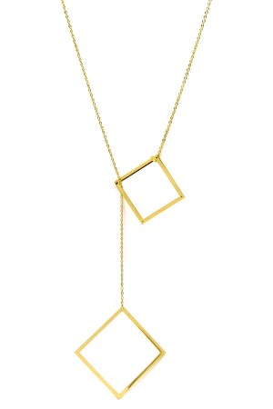 BAZAAR - SQUARE IN SQUARE - Lariat Necklace