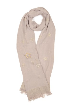 HAPPY SEASONS - STARS - Pink Scarf with Broach