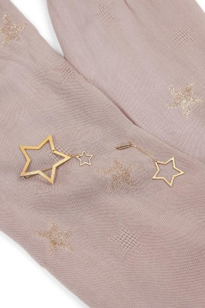 HAPPY SEASONS - STARS - Pink Scarf with Broach (1)