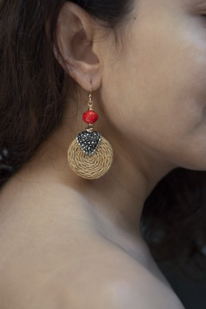 SHOW TIME - STRAW - Coral Earrings (1)