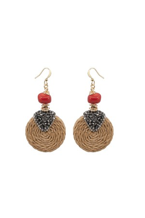 SHOW TIME - STRAW - Coral Earrings