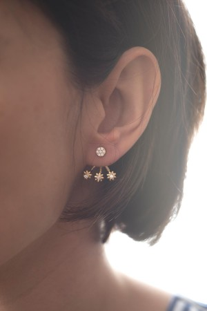 SHOW TIME - TRIO FLOWER - CZ Earjacket Earring