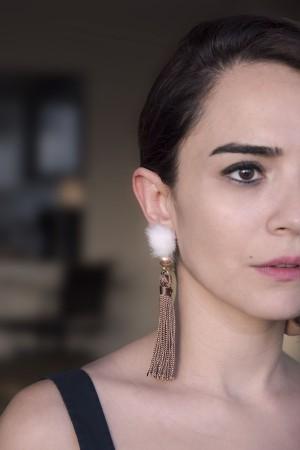 SHOW TIME - WHITE FUR - Tassel Earrings